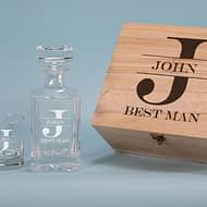 Best Man Design 750 ml Decanter with 2 spirit Glass Gift Set