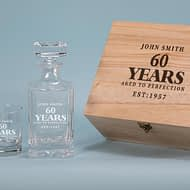 Aged to Perfection Design 750ml Decanter with 2 spirit Glass Gift Set